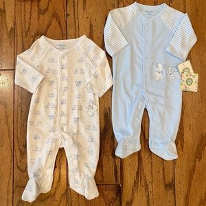 2 NWT 2 Little Me Puppy Footed PJ's 3M